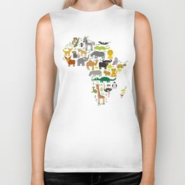 map of Africa: parrot Hyena Rhinoceros Zebra Hippopotamus Crocodile Turtle Elephant Mamba snake Biker Tank