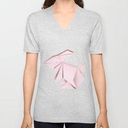 Pink origami bunny Unisex V-Neck