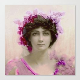 Beautiful,young lady,Belle epoque,victorian era, vintage, angelic girl, beautiful,floral,gentle,peac Canvas Print
