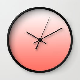 Living Coral Ombre - Coral and White Wall Clock