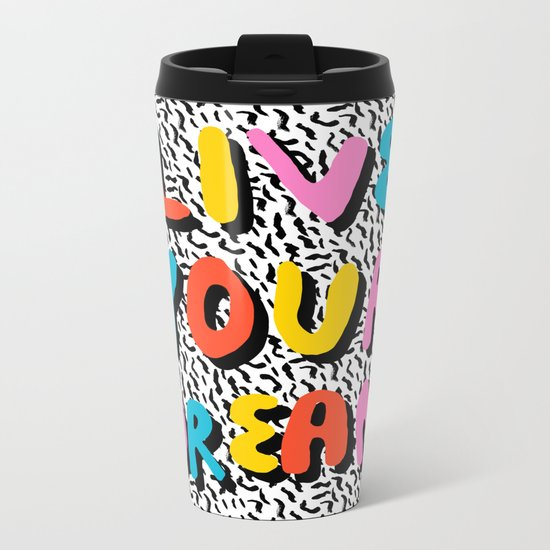 Ya Heard - 1980's throwback retro pattern memphis-style hipster bright colorful pop art minimal rad Metal Travel Mug