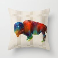 nfl Throw Pillows featuring Buffalo Animal Print - Wild Bill - By Sharon Cummings by Sharon Cummings