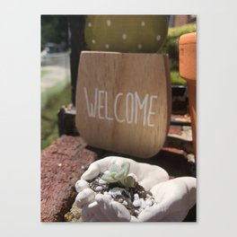 Welcome Home Little Succulent Canvas Print