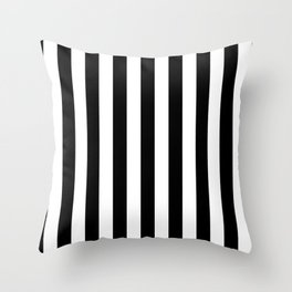 Solid Black and White Wide Vertical Cabana Tent Stripe Throw Pillow