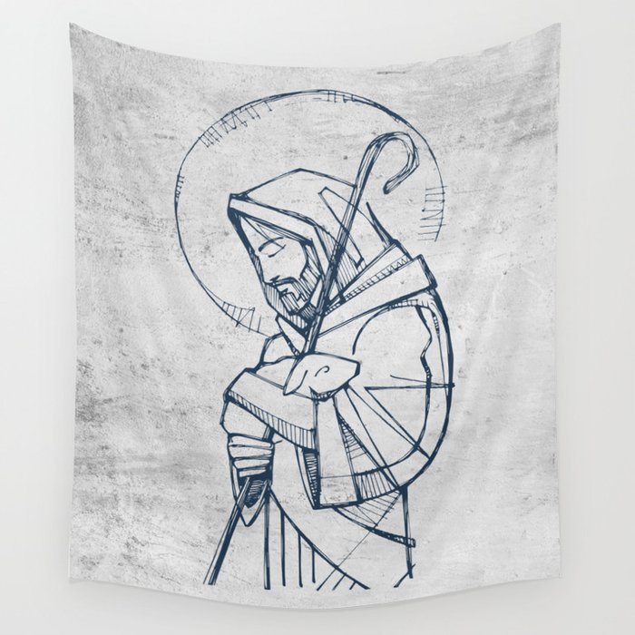 Jesus Christ Good Shepherd Wall Tapestry