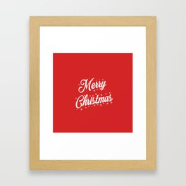 Merry Christmas with Snow Flakes on Red Background Framed Art Print