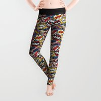 comic book Leggings featuring Modern Comic Book Superhero Pattern Color Colour Cartoon Lichtenstein Pop Art by Season of Victory