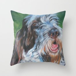 Spinone Italiano dog art portrait from an original painting by L.A.Shepard Throw Pillow