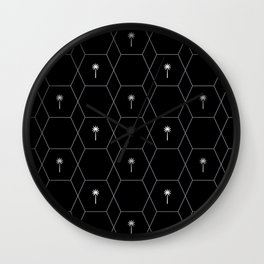 Hexagon Palms Wall Clock