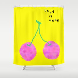 Words from Cherry - fruit love illustration wedding gift Shower Curtain