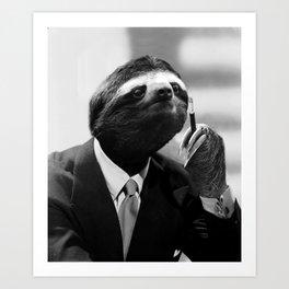 Gentleman Sloth smoking a cigarette Art Print