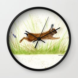 Leaping Rabbit - animal watercolor painting Wall Clock
