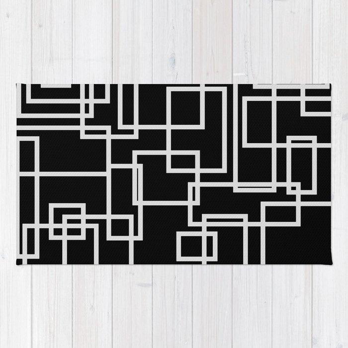 Geometric Cubic Line Pattern Black And White Rug By Lebensartdesign