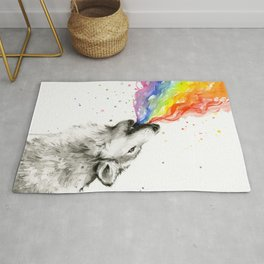 Wolf Howling Rainbow Watercolor Rug