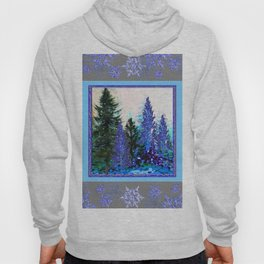 GREY WINTER SNOWFLAKE  CRYSTALS FOREST ART Hoody