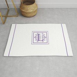 Monogram Letter L in Violet and White Rug
