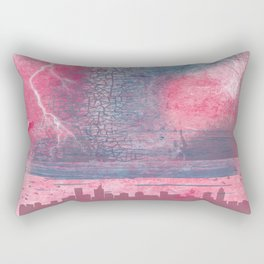 Town and the storm, pink, gray, blue Rectangular Pillow