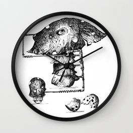 Funy Mushroom Mother Breastfeeding Her Newborn Daughter After Exiting The Egg Grphc Wall Clock