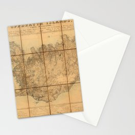 Map Of Iceland 1849 Stationery Cards