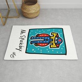 Mr Space Boy Street Art Graffiti Illustration for Kids Rug