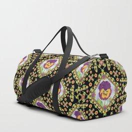 Purple Pansy Portrait Duffle Bag