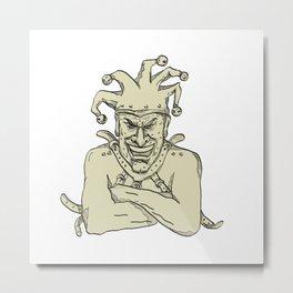 Crazy Court Jester Straitjacket Drawing Metal Print