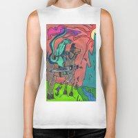 llama Biker Tanks featuring Llama by Art Fitzgerald