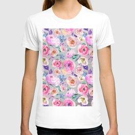 Blush pink gray lilac abstract botanical roses floral T-shirt