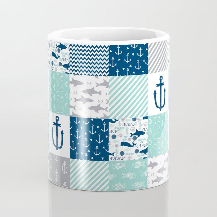 Nautical anchors sharks whales quilt cheater quilt nursery pattern art Coffee Mug