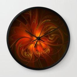 Burning, Abstract Fractal Art With Warmth Wall Clock