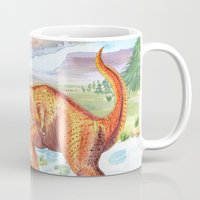 t rex Mugs featuring T-Rex by Catherine Holcombe
