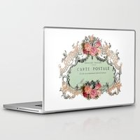 shabby chic Laptop & iPad Skins featuring Shabby Chic Carte Postale by Nika in Wonderland