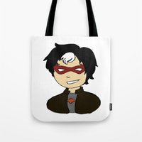 robin hood Tote Bags featuring Robin II - Red Hood by Tristan Sites