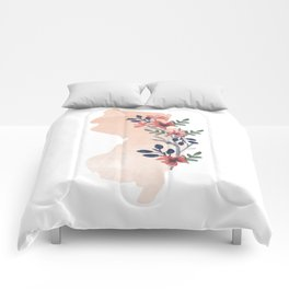 New Jersey Watercolor Floral State Comforters