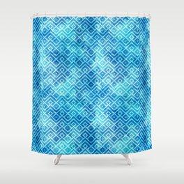 Blue Watercolor & Geometric Pattern Shower Curtain