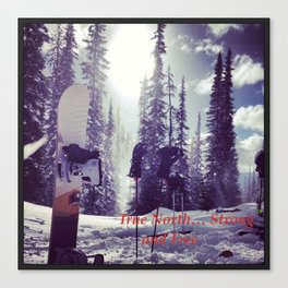 True North Strong and Free Ski Canvas Print