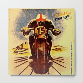Vintage Nurburgring Nordschleife Motorcycle Racing Poster, Circa 1947 Metal Print