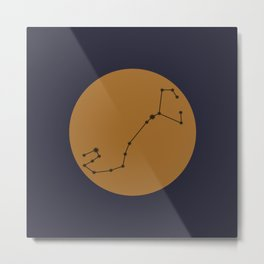 Scorpio Constellation - Bold Blue & Gold Metal Print