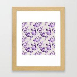 Vintage ivory lavender purple elegant roses floral Framed Art Print