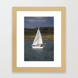 Yacht 238 sailing from Howth, with Irelands Eye in the background Framed Art Print