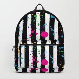 Stripes & Rainbow Splatter Backpack