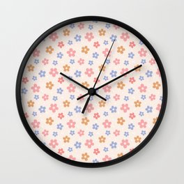 Colourful Floral Pattern Wall Clock