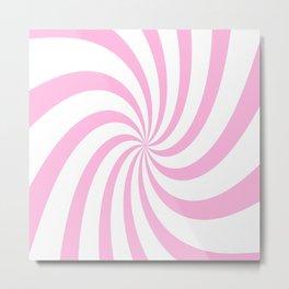 Spiral (Pink & White Pattern) Metal Print