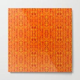 Orange Aztek Abstract Print Metal Print
