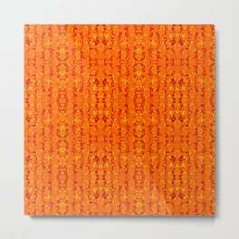 Orange Aztek Abstract Print Metal Print