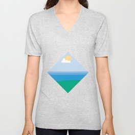 Sun, Cloud and River Lovers Unisex V-Neck