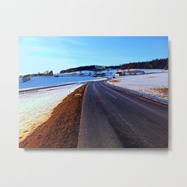 Country road through winter wonderland III | landscape photography Metal Print