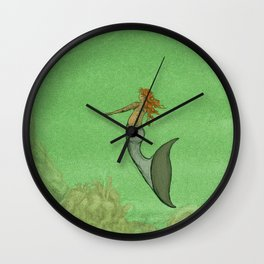 The Golden Mermaid Wall Clock