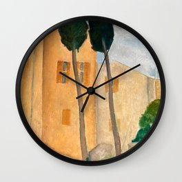 "Amedeo Modigliani ""Cypresses and Houses at Cagnes (Cyprès et maisons à Cagnes)"" Wall Clock"