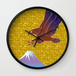 Eagle and Mt,Fuji on Gold-leaf Screen Wall Clock